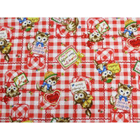 Pocket Kittens / Cats Red Check & Hearts Quilt Gate Fabrics #3145 - Quilting & Sewing Fabric