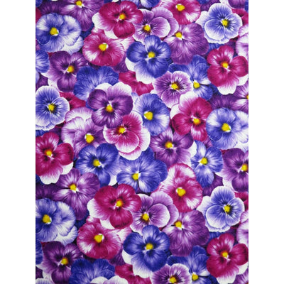 Purple Packed Pansies Viola Pansy Floral Timeless Treasures #6926 - Quilting & Sewing Fabric