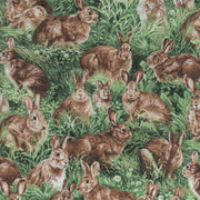 Realistic American Wildlife Rabbits Nature Outdoors Fabri-Quilt #5552 - Quilting & Sewing Fabric