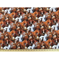 Realistic Farm Animals Packed Horses Elizabeths Studio #7732 - Quilting & Sewing Fabric