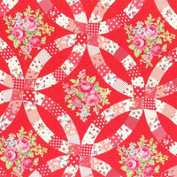 Red Flower Sugar Fall Roses Lecien Japan #3549 - Quilting & Sewing Fabric