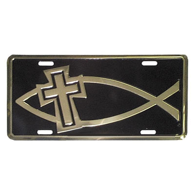 Religious License Plates Auto Tag Deluxe Gold Fish and Cross Aluminum #7372 - Christian Products