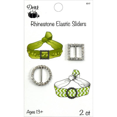Rhinestone Elastic Sliders Square & Circle 2/Pkg #5978 - Sewing Notions