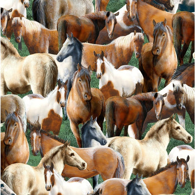 Roaming Wild Horses Allover Green Wilmington Prints #7682 - Quilting & Sewing Fabric