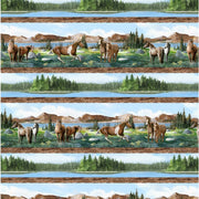 Roaming Wild Horses Repeating Stripe Scenic Wilmington Prints #7680 - Quilting & Sewing Fabric