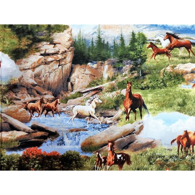 Running Wild Horses Scenic Mountain & Water Quilting Treasures #2851 - Quilting & Sewing Fabric