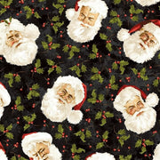 Santa Claus Faces & Holly Christmas / Holiday Maywood Studio #5215 - Quilting & Sewing Fabric