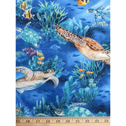 Sea Turtles Reef With Fish Royal Blue Hoffman Fabrics #2400 - Quilting & Sewing Fabric