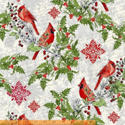 Seasons Greetings Cardinal Wildlife Birds on Branches Windham Fabrics #5482 - Quilting & Sewing Fabric