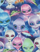 Selfie Aliens & UFOS Multi Cotton Timeless Treasures Fabric #7792 - Quilting & Sewing Fabric