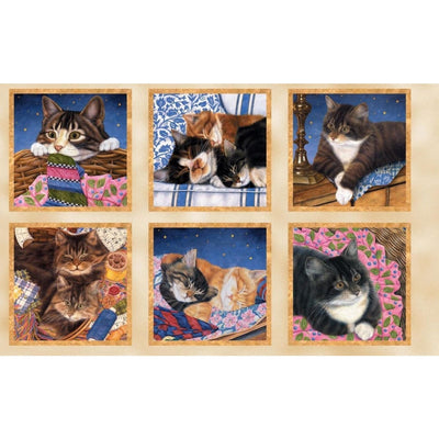 Sew Curious Cats & Kitten 24 Panel Wilmington Prints #6089 - Quilting & Sewing Fabric