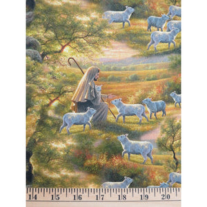 Shepherd Come Unto Me Jesus with Sheep Religious Elizabeths Studio #7828 - Quilting & Sewing Fabric