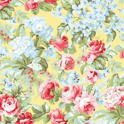 Simply Chic Yellow Roses Floral Garden Benartex Fabrics #6979 - Quilting & Sewing Fabric