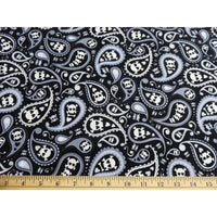 Skulls & Paisley Black Timeless Treasures #4849 - Quilting & Sewing Fabric