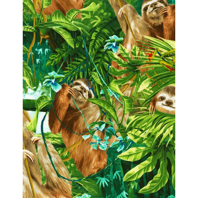Sloths Wildlife Animals Green Timeless Treasures #7770 - Quilting & Sewing Fabric