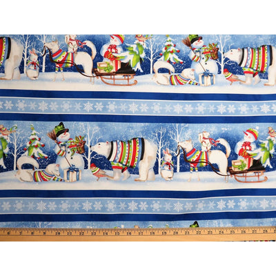 Snowy Friends Cartoon Wildlife Christmas Scenic Stripe Wilmington Prints #7740 - Quilting & Sewing Fabric