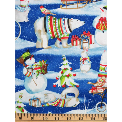 Snowy Friends Cartoon Wildlife Christmas Scenic Wilmington Prints #7741 - Quilting & Sewing Fabric