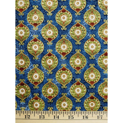 Somerset Medallion Earth W/ Metallic Robert Kaufman #2277 - Quilting & Sewing Fabric