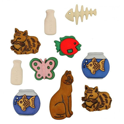 Somethings Fishy Cats & Mouse Plastic Embellishment Buttons Galore #4479 - Sewing Notions