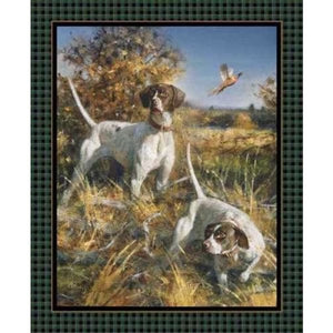Sports Hunting Bird Dogs Point North Quilt / Wall Panel #2886 - Quilting & Sewing Fabric