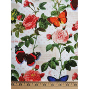 Spring Garden Fleur Butterflies & Flowers White David Textiles #5744 - Quilting & Sewing Fabric
