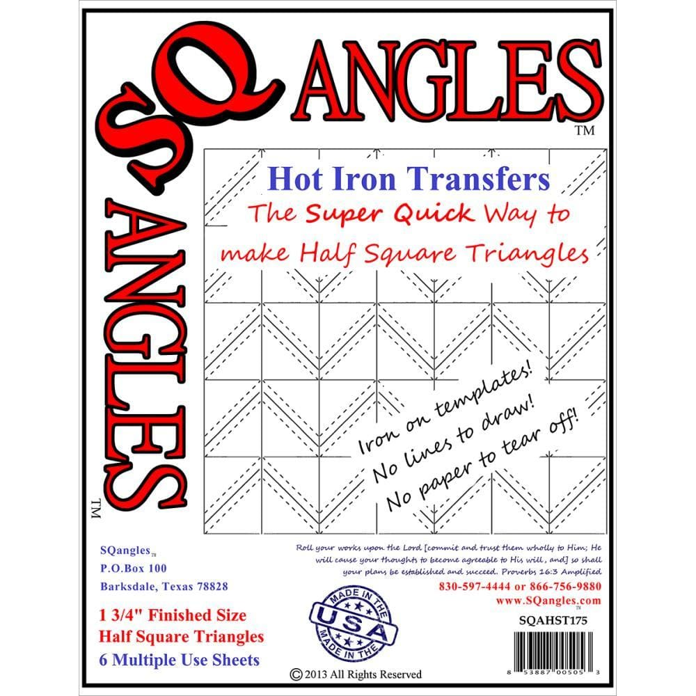 SQANGLES 1.75 6/PK Half Square Triangles Hot Iron Transfers #5976 - Sewing Notions