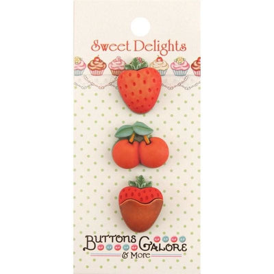 Sweet Delights Mixed Fruit Novelty 3D Embellishment Buttons #4116 - Sewing Notions
