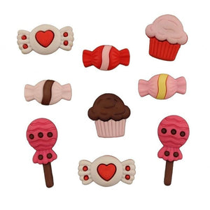 Sweets for My Sweet Cupcakes & Candy Embellishment Buttons Galore #4475 - Sewing Notions