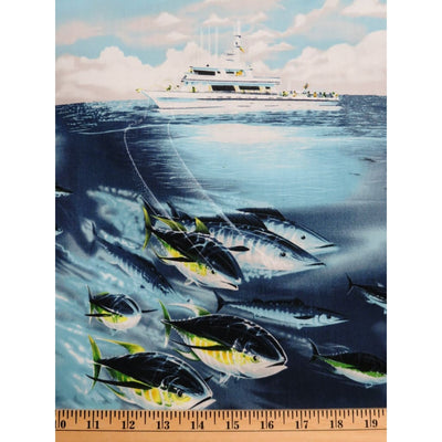 T Kelly Fish Aqua Sports Fisherman on Boats Hoffman Fabrics #2402 - Quilting & Sewing Fabric