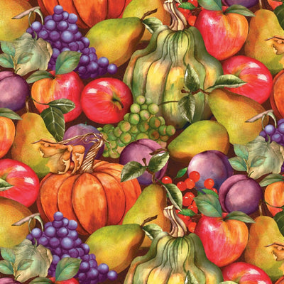 Thankful Harvest Stacked Fruits Food Wilmington Prints #7045 - Quilting & Sewing Fabric
