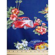 Tropical Habiscus Floral w/ Hot Rods Classic Cars with Flames Hoffman#2398 - Quilting & Sewing Fabric