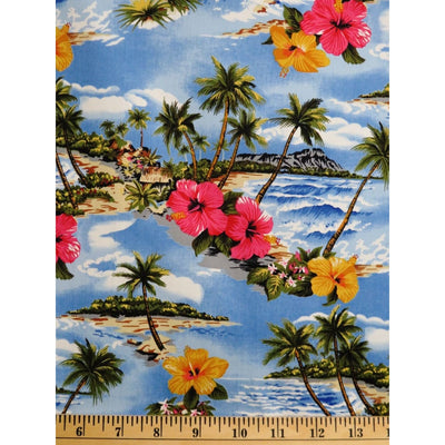Tropical Hawaii Paradise Island w/ Water & Floral Hoffman Fabrics #2395 - Quilting & Sewing Fabric