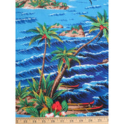 Tropical Hawaiian Retro Paradise Island w/ Water & Boats Shamash & Sons #2431 - Quilting & Sewing Fabric