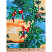 Tropical Parrots & Tucan Birds With an Island Sunset Hoffman Fabrics #2397 - Quilting & Sewing Fabric