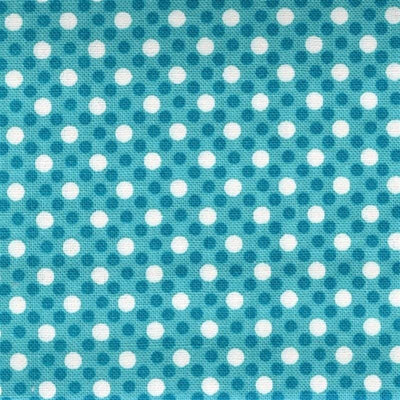 Turquoise Dim Dot White Polka Dots Michael Miller #5320 - Quilting & Sewing Fabric