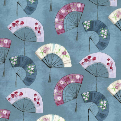 Turquoise Fancy Fans Asian Cotton Michael Miller Fabrics #7066 - Quilting & Sewing Fabric