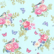 Tweet La Vie Birds Butterflies Roses w/ Metallic Michael Miller #7178 - Quilting & Sewing Fabric