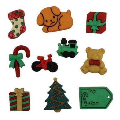 Under the Tree Christmas Toys Plastic Shank Buttons Galore #4487 - Sewing Notions