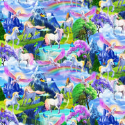 Unicorns Rainbows & Butterflies Timeless Treasures #7774 - Quilting & Sewing Fabric