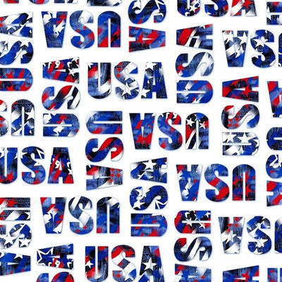 USA America Patriotic Words White Windham Fabrics #5485 - Quilting & Sewing Fabric