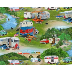 Vintage Trailers Camping Retro Camper Scenic Elizabeths Studio #5959 - Quilting & Sewing Fabric
