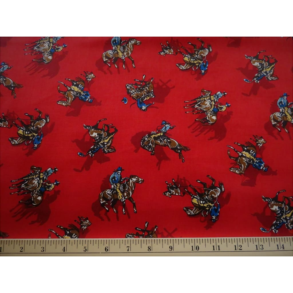 Western Red Rodeo Cowboys & Horses Robert Kaufman #4549 - Quilting & Sewing Fabric