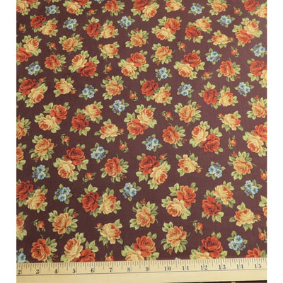 Wharton Tossed Roses Brown small Floral Cotton Windham Fabrics #4700 - Quilting & Sewing Fabric