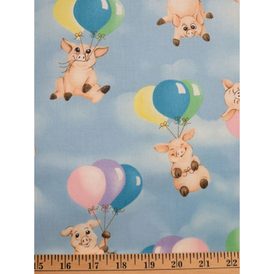 When Pigs Fly Piglets & Balloons Blue Hoffman California Fabrics #2387 - Quilting & Sewing Fabric