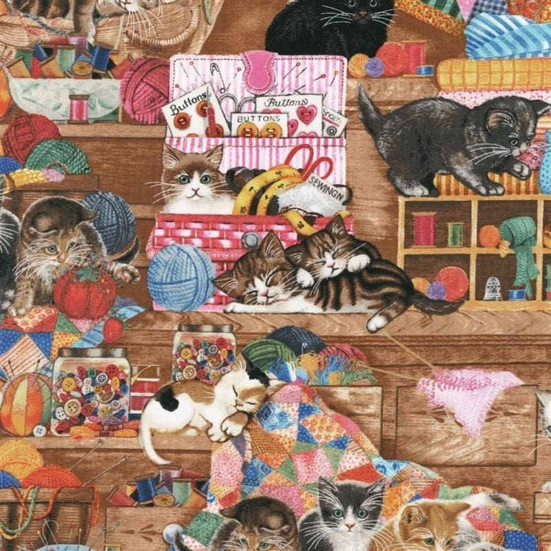 Whiskers & Tails Cats Kittens with Notions Robert Kaufman #5773 - Quilting & Sewing Fabric