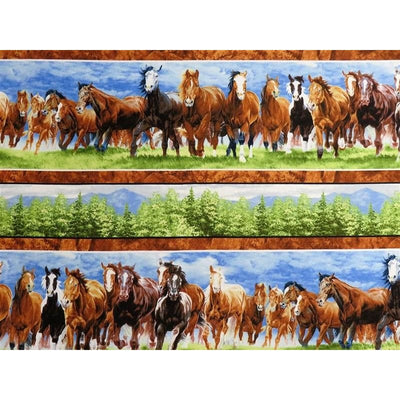 Wild at Heart Repeating Stripe Trees & Wild Horses Running #2257 - Quilting & Sewing Fabric