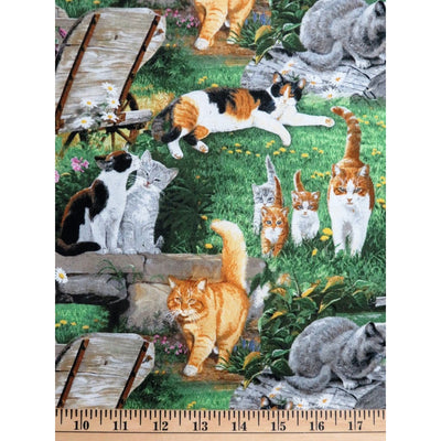Wild Wings Strolling Along Cats & Flowers Scenic Springs Creative #2334 - Quilting & Sewing Fabric