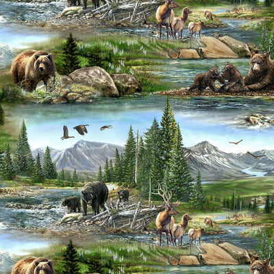 Wildlife Animals Scenic Bear Meadow Wilmington Prints #5454 - Quilting & Sewing Fabric