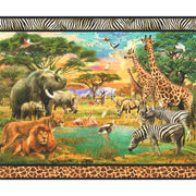 Wildlife Digital Panel 35in Jungle Animals Robert Kaufman #6999 - Quilting & Sewing Fabric