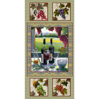 Wine Country 24 Panel Alcohol Drink & Grapes Spectrix #4450 - Quilting & Sewing Fabric